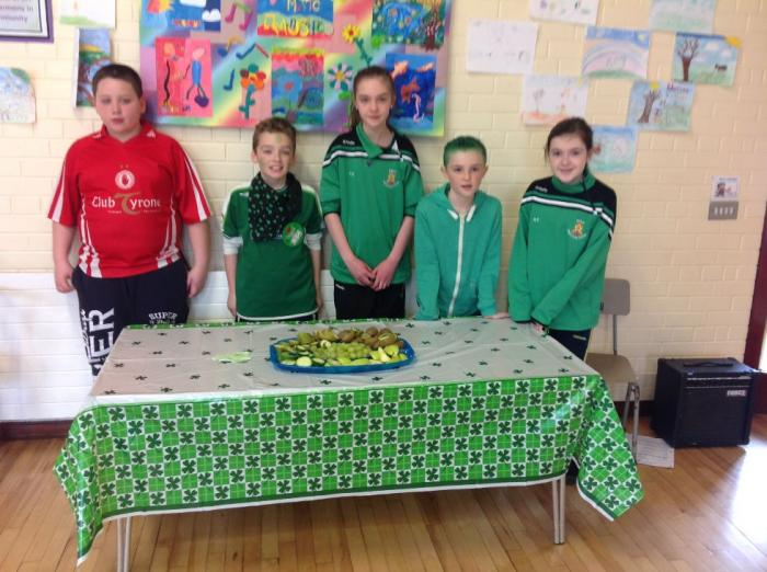 Student Council with green, healthy snacks